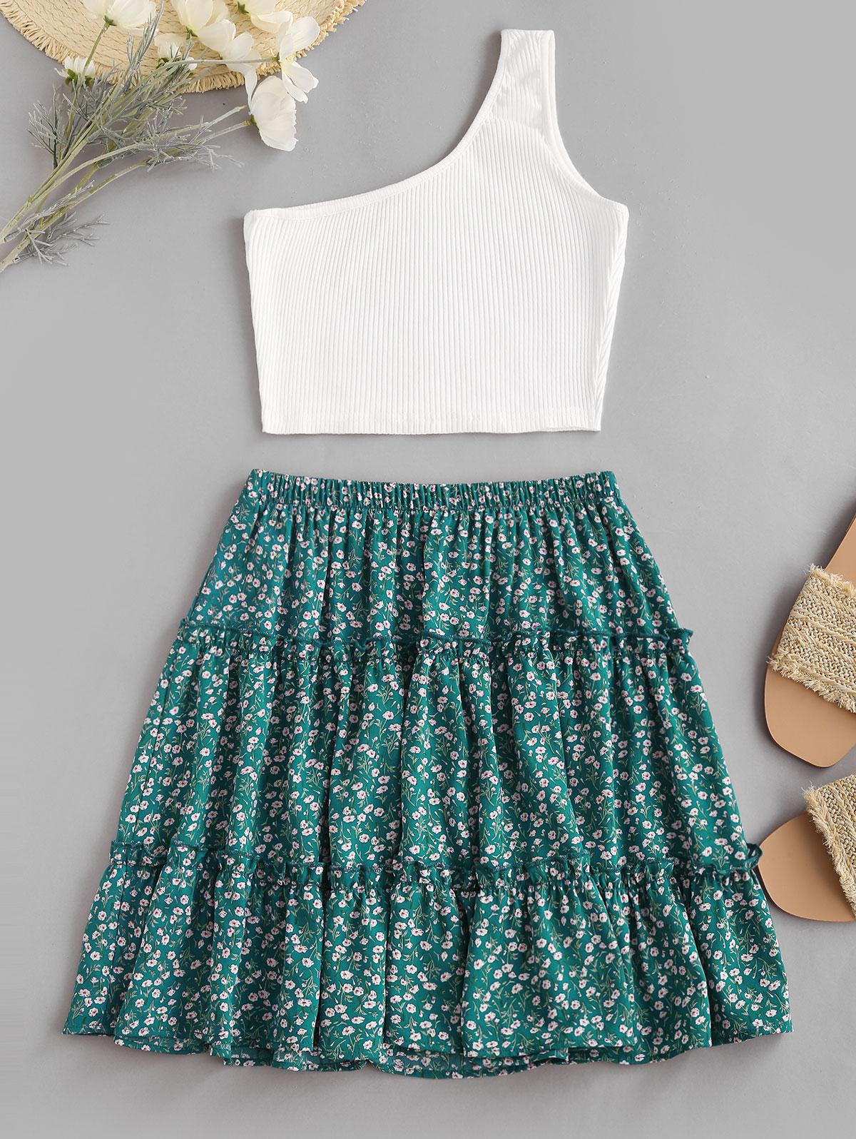 Ribbed One Shoulder Ditsy Print Tiered Skirt Set