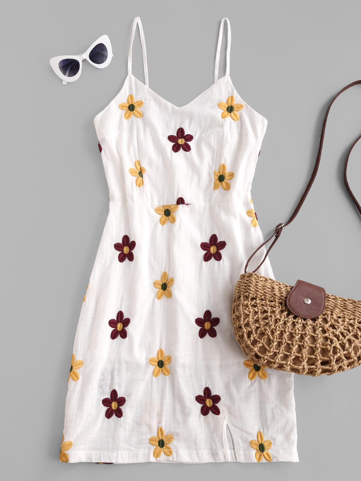 Flower Embroidered Cami Slit Casual Dress