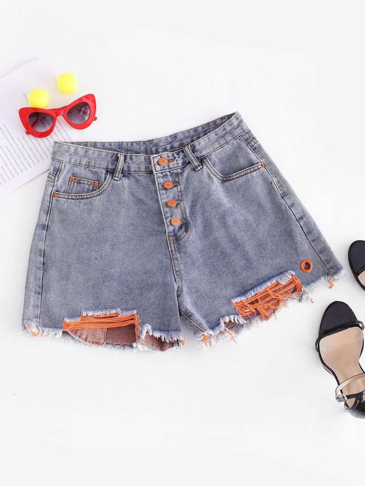 Ripped Button Fly Frayed Denim Shorts