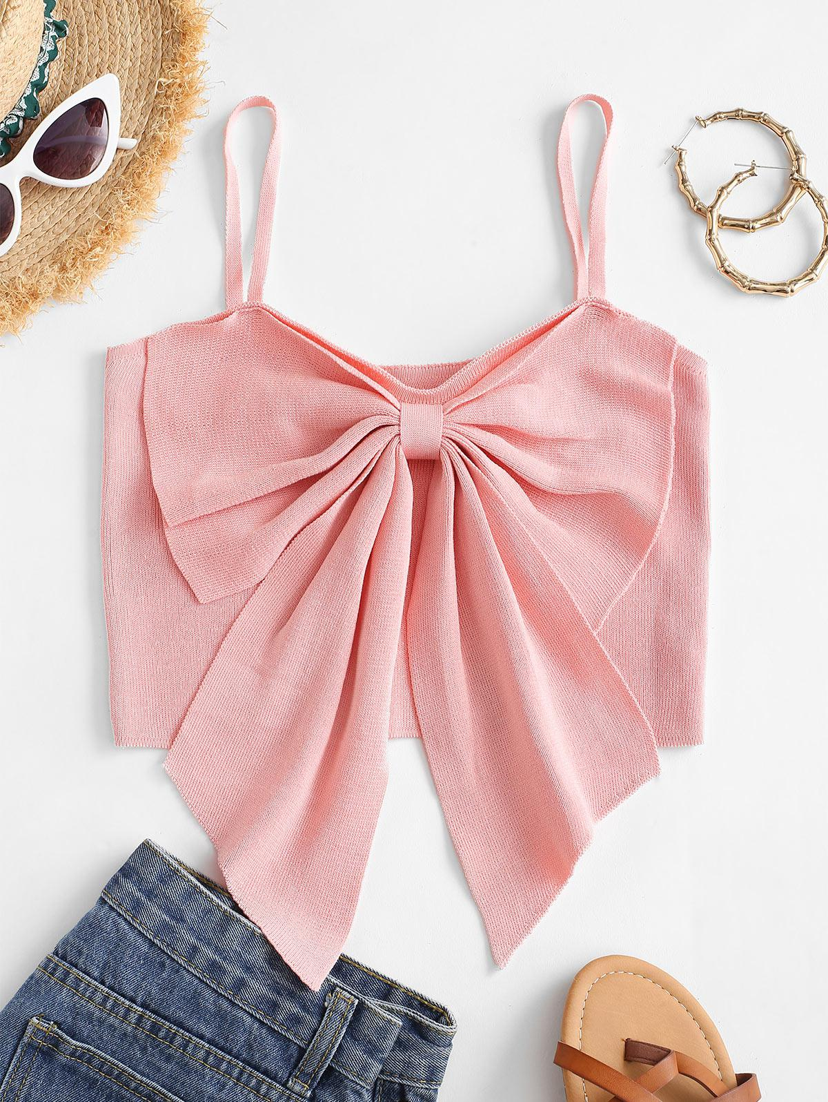 Bowknot Detail Cropped Tank Top