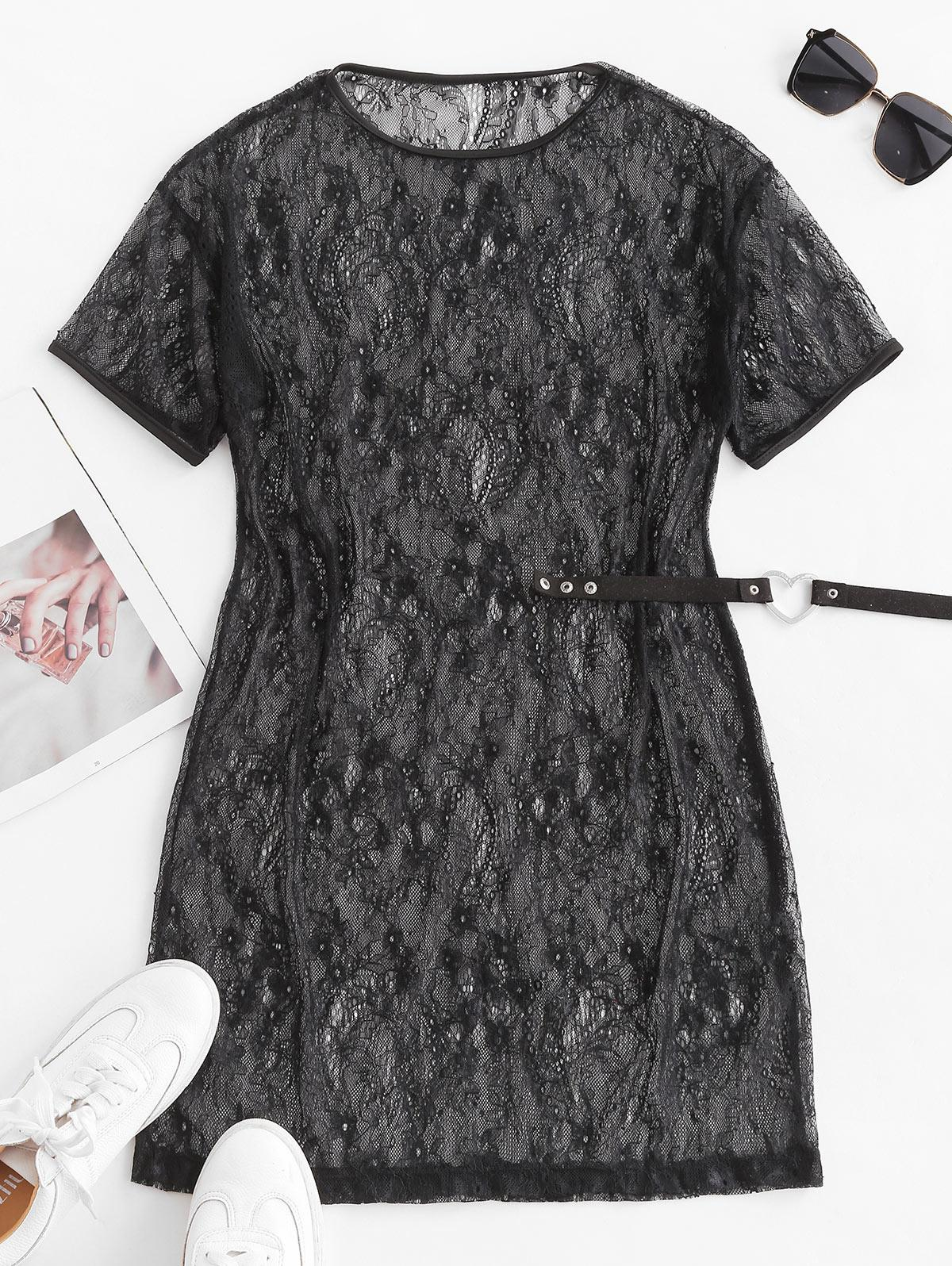 Flower Lace Sheer Mini Tunic Dress