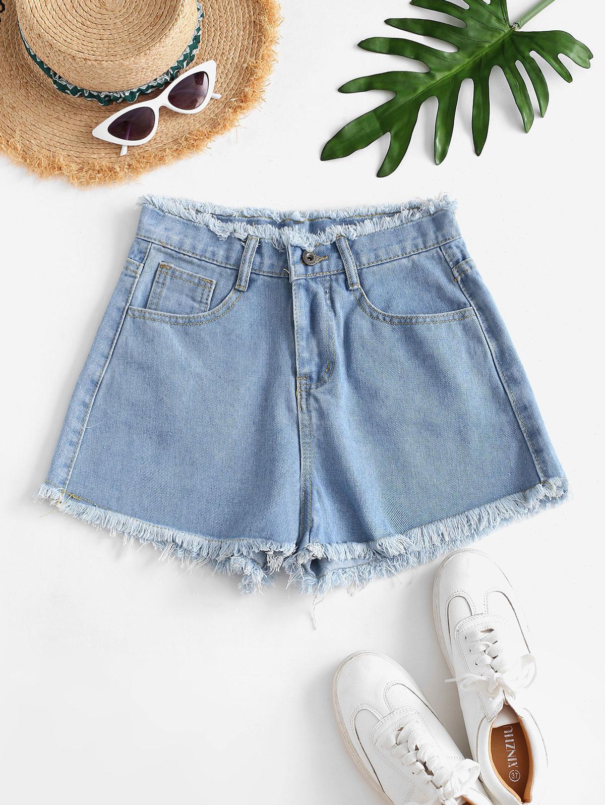 Frayed Hem High-waist Mini Denim Shorts