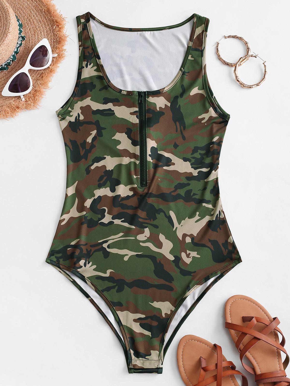 Sleeveless Camouflage Half Zip Bodysuit