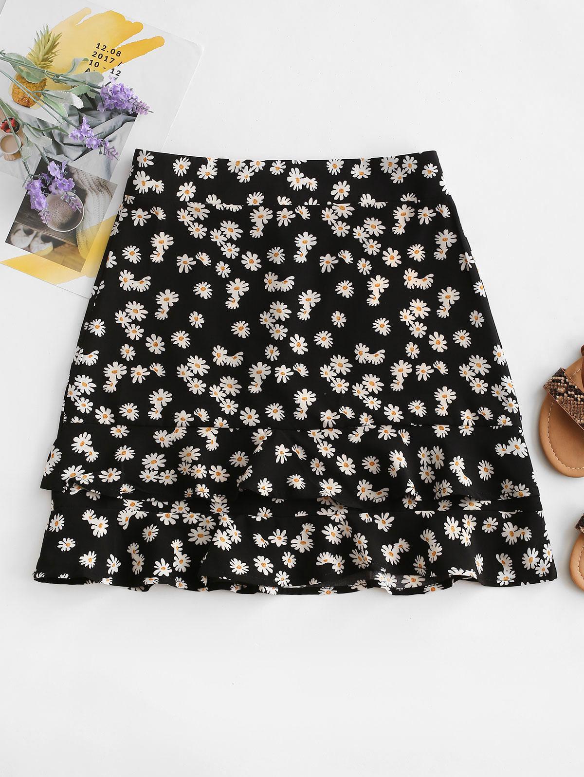 Daisy Print Tiered Flounce Skirt