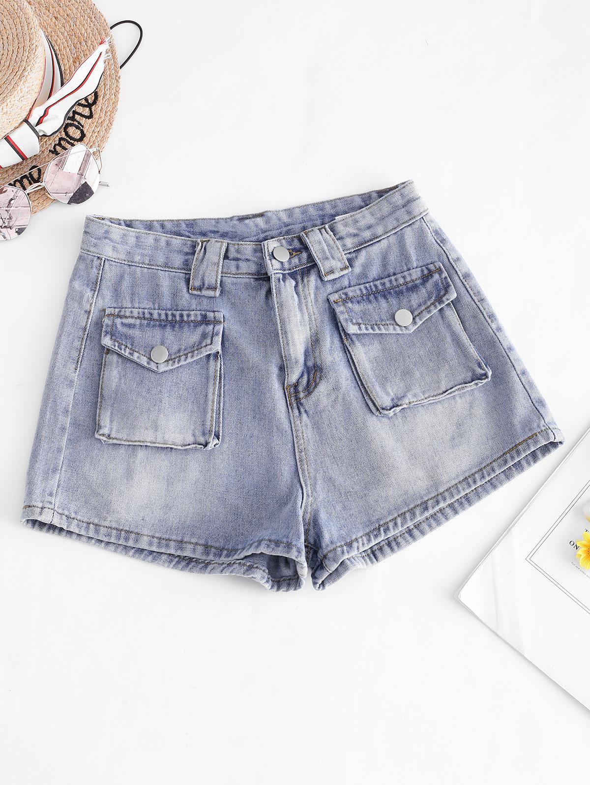 Zip Fly Cargo Pocket Denim Shorts