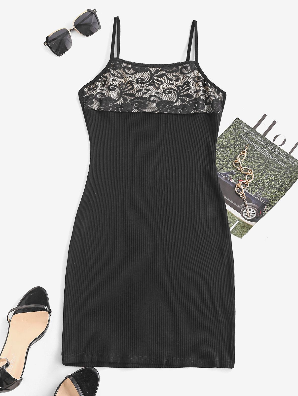Ribbed Lace Insert Bodycon Dress