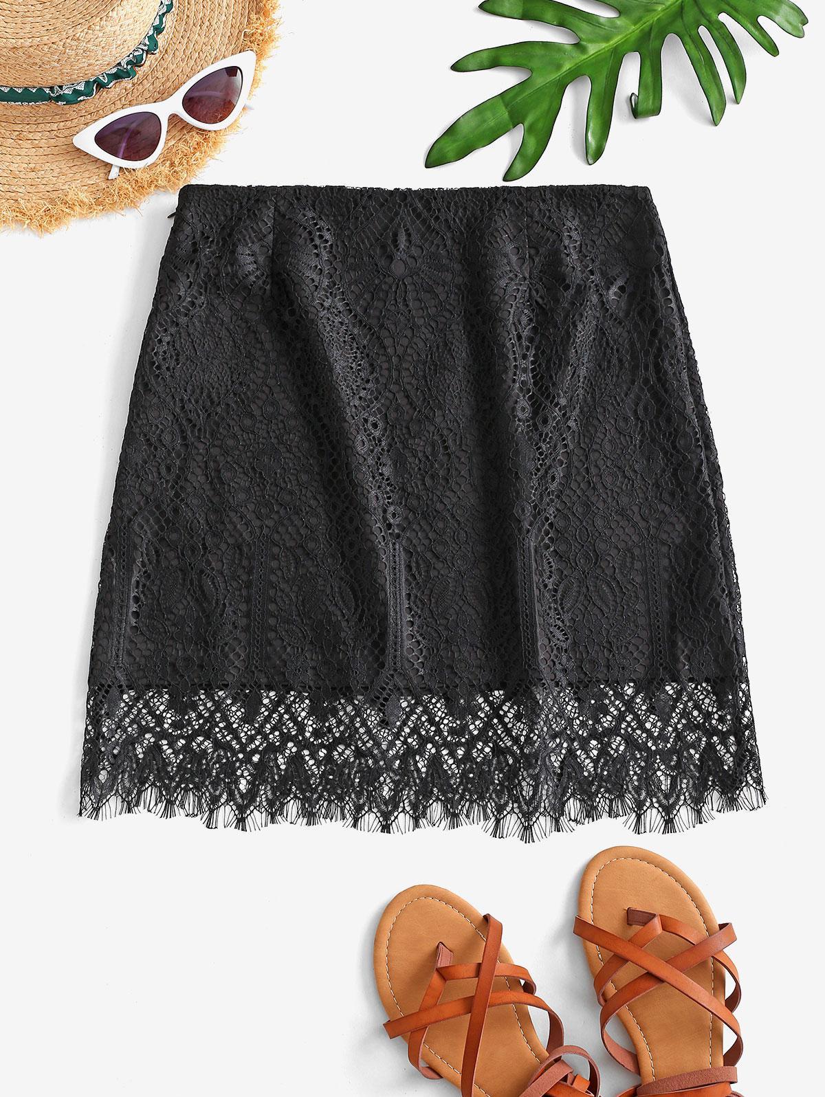 High Waisted Eyelash Lace Skirt