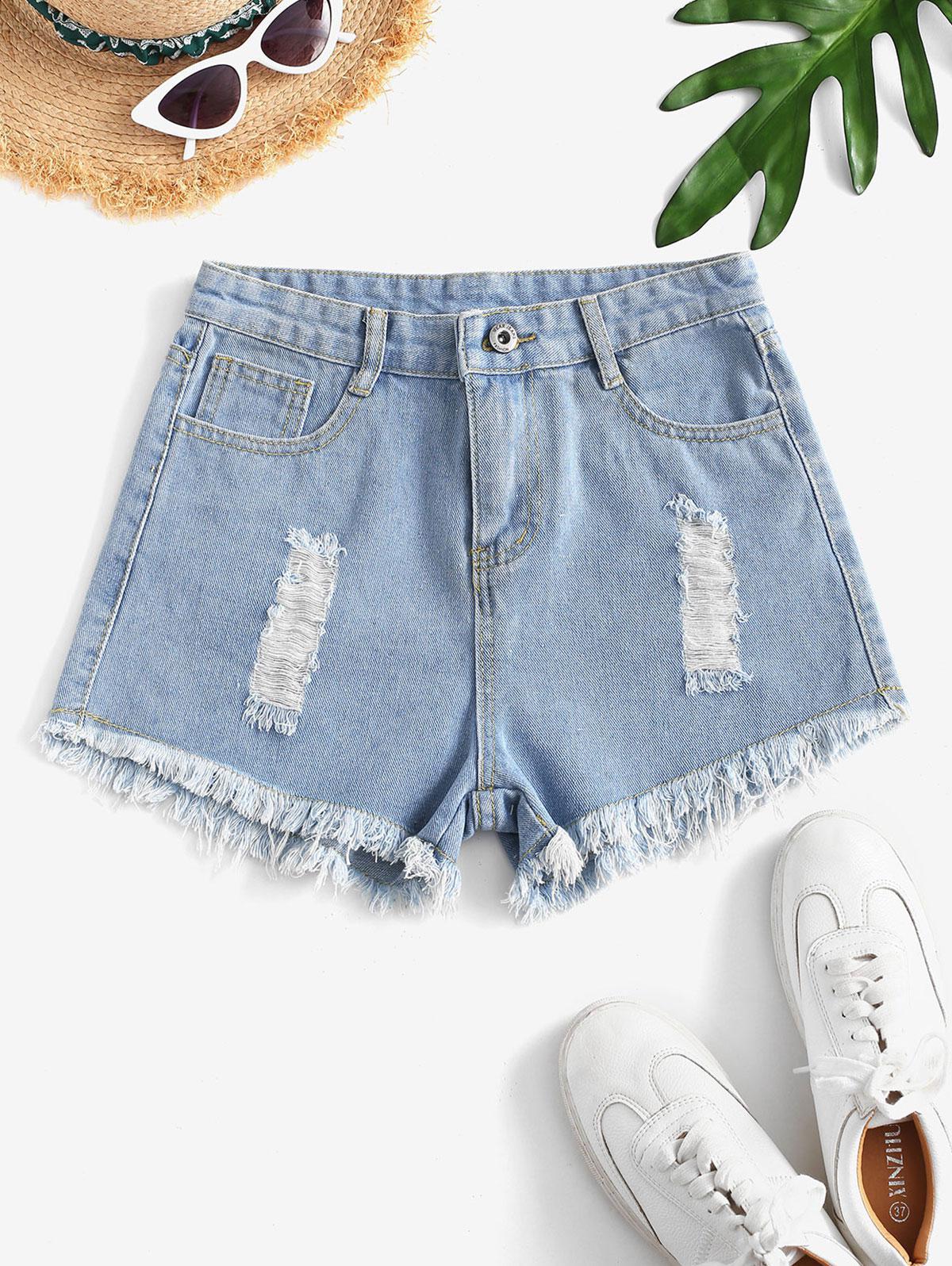 Destroyed Mini Denim Shorts