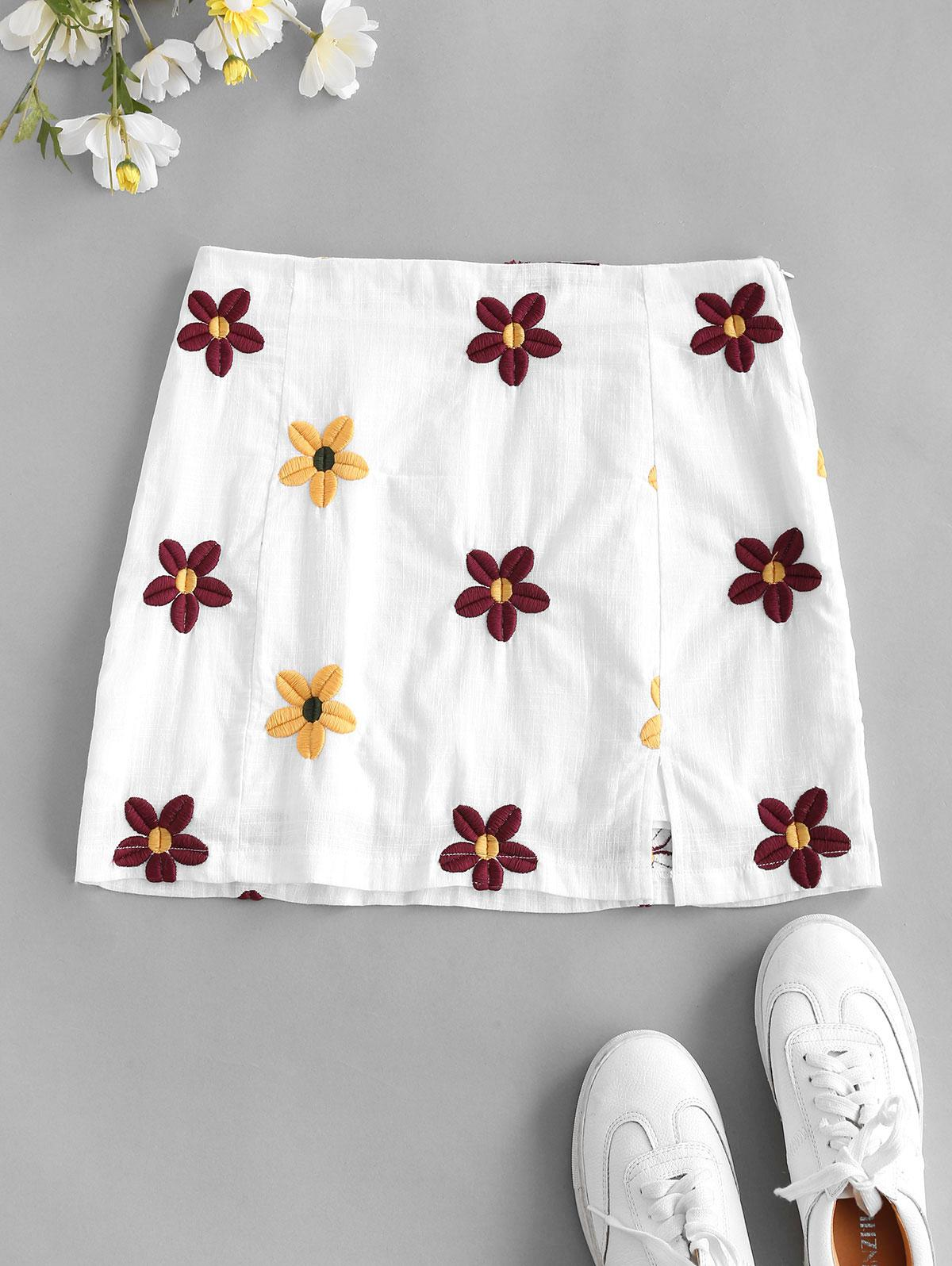 Flower Embroidered Slit A Line Skirt