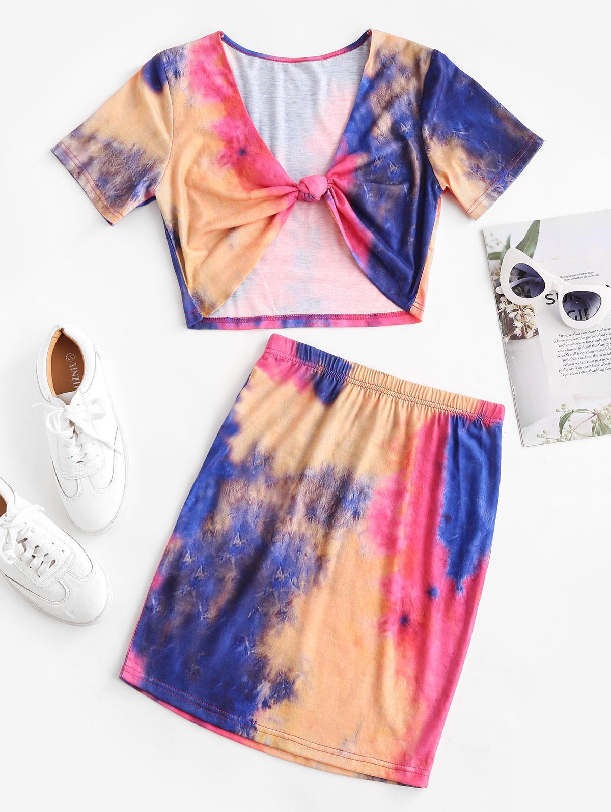 ZAFUL Tie Dye Knotted Bodycon Skirt Set