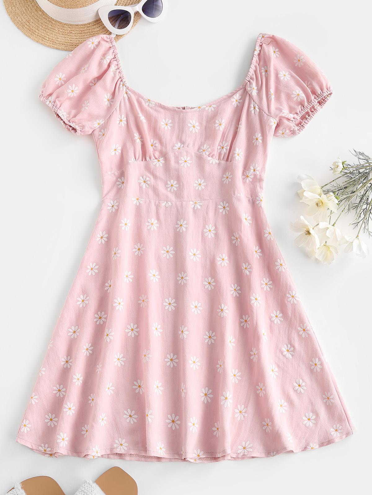 Puff Sleeve Floral Empire Waist Dress