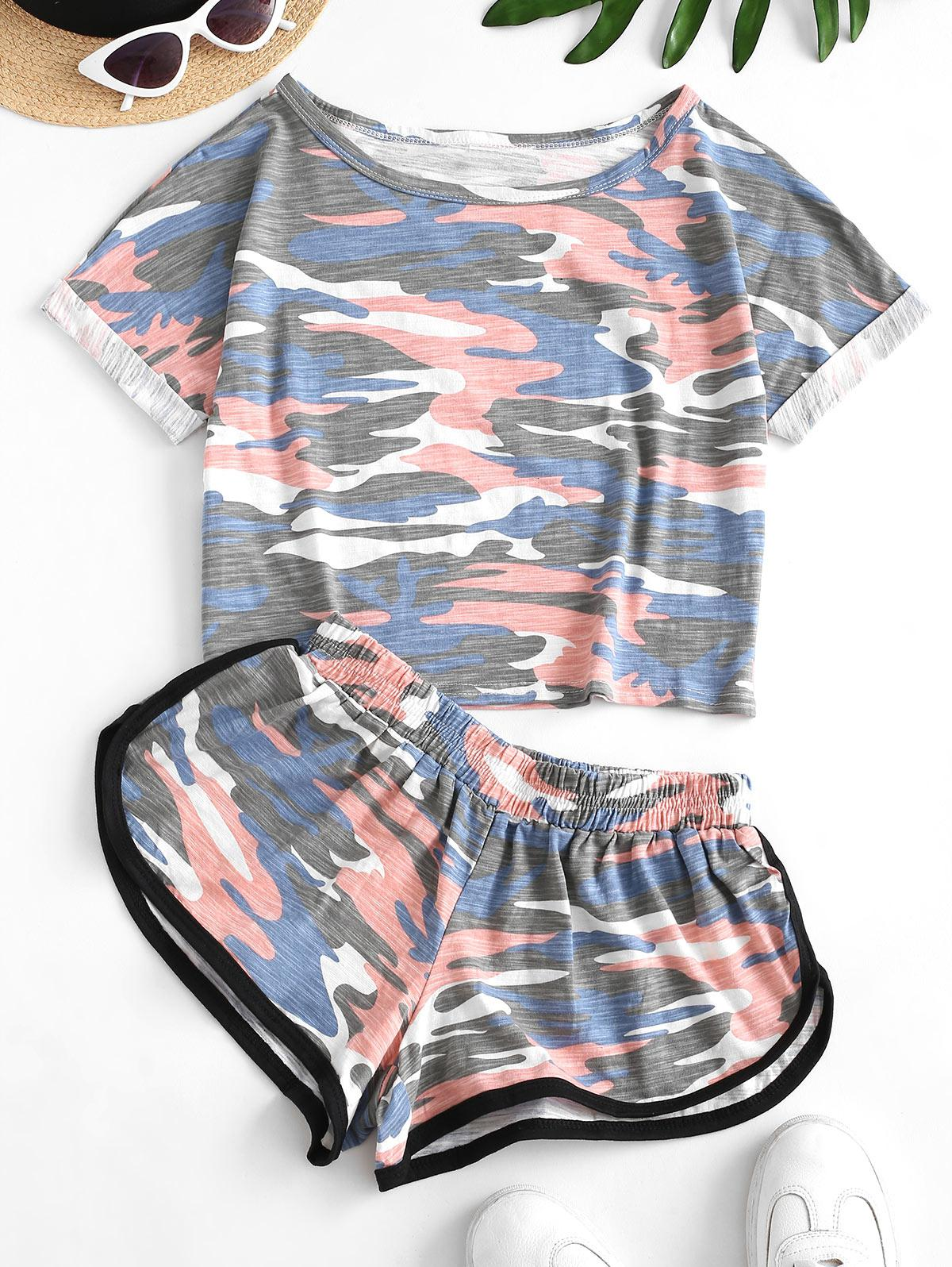 Two Piece Camo Cropped Dolphin Shorts Set