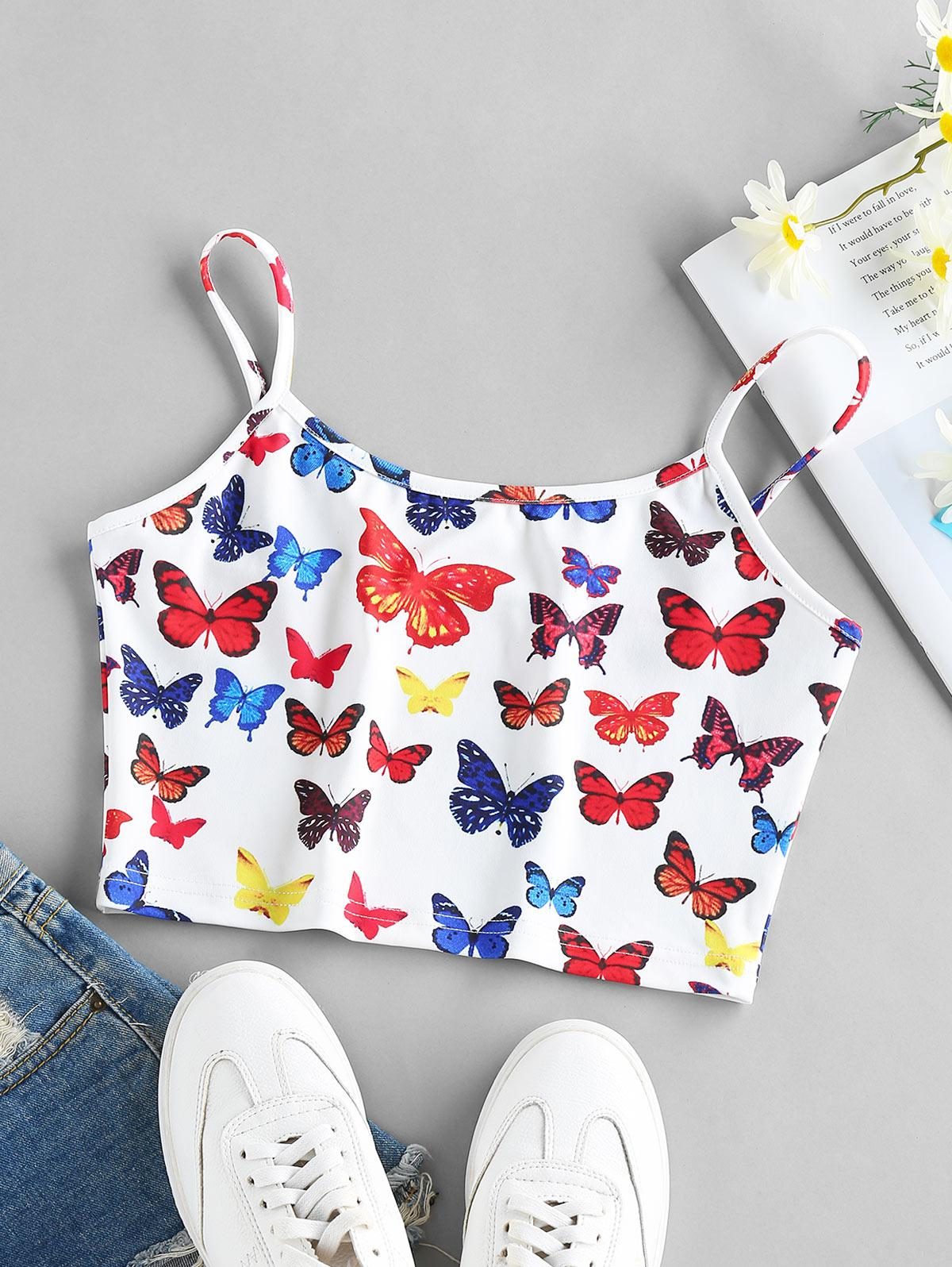 ZAFUL Butterfly Print Crop Cami Top