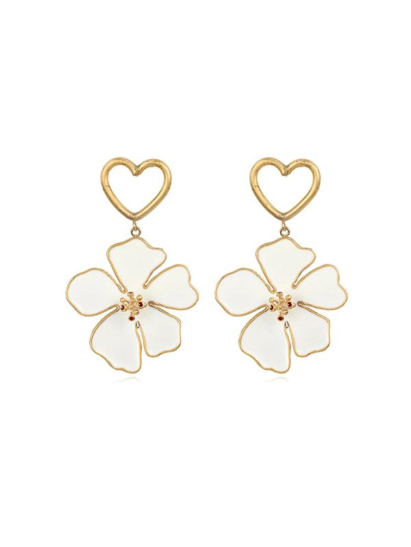 Hollow Out Heart Floral Dangle Earrings