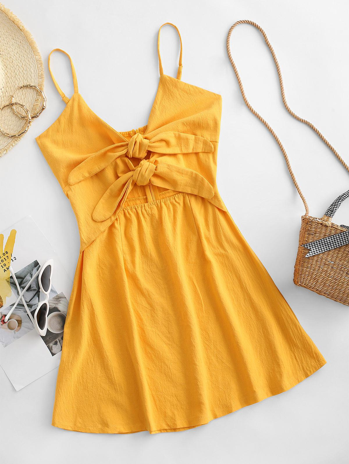 Cami Tie Front Cut Out Mini Dress