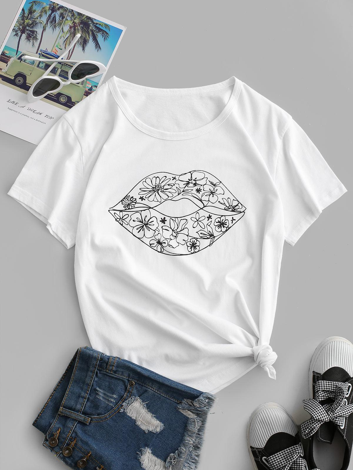 Basic Floral Lip Graphic T-shirt