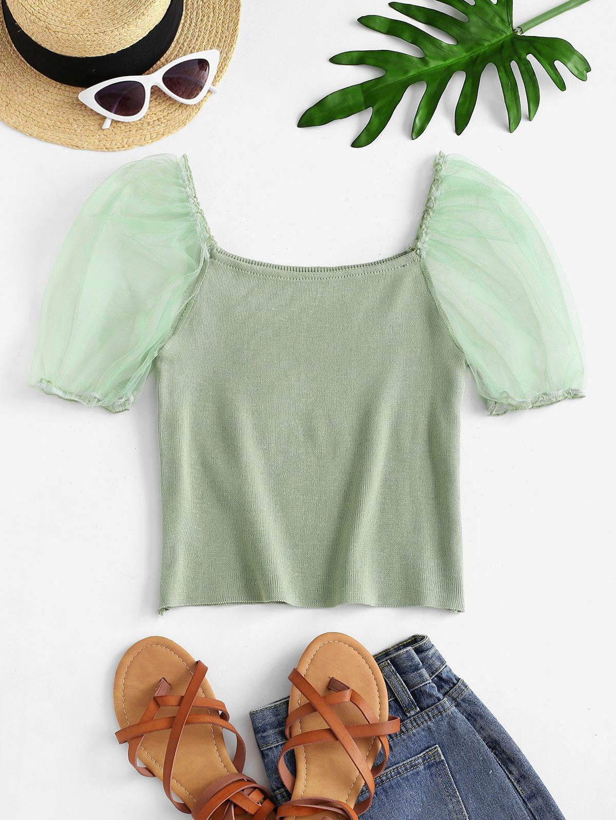 Knitted Mesh Puff Sleeve Top