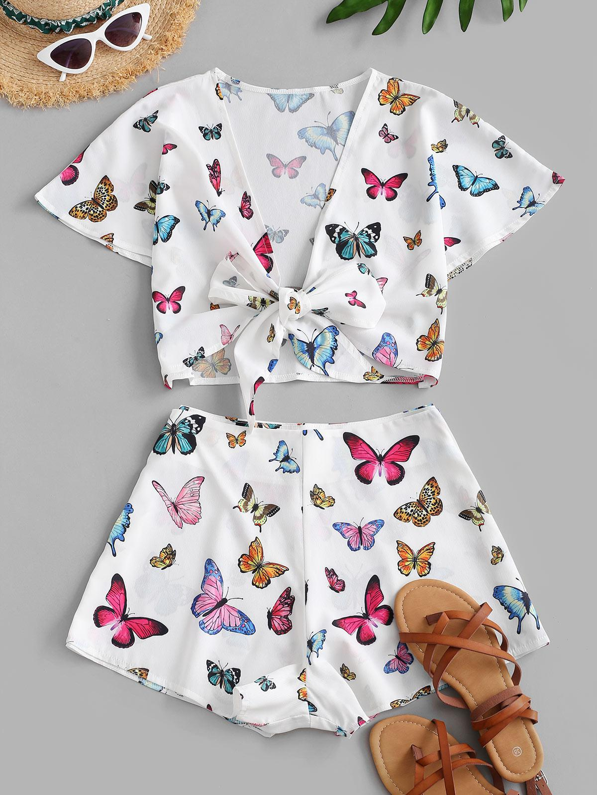 ZAFUL Butterfly Tie Front Cropped Two Piece Set