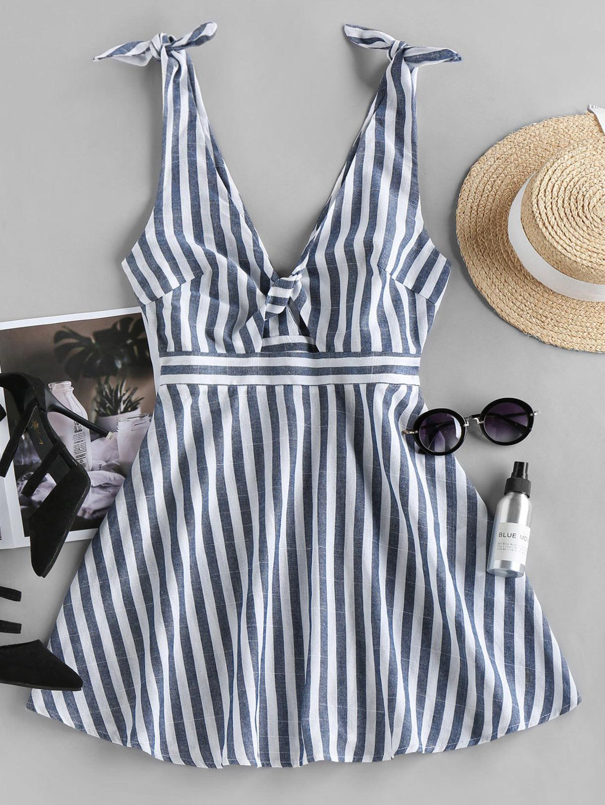 ZAFUL Striped Twisted Tied Plunging Dress