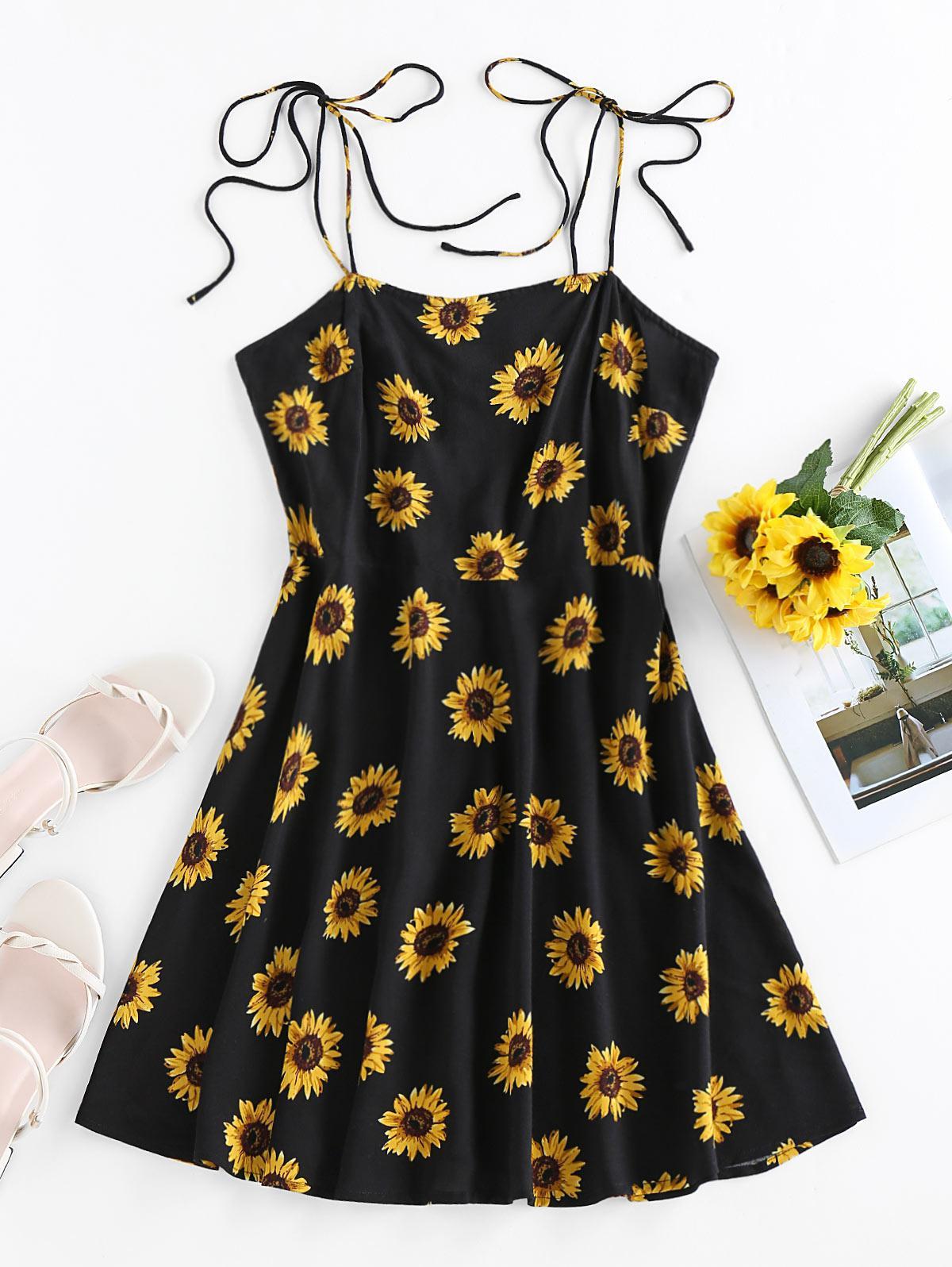 ZAFUL Sunflower Print Tie Shoulder Backless Dress