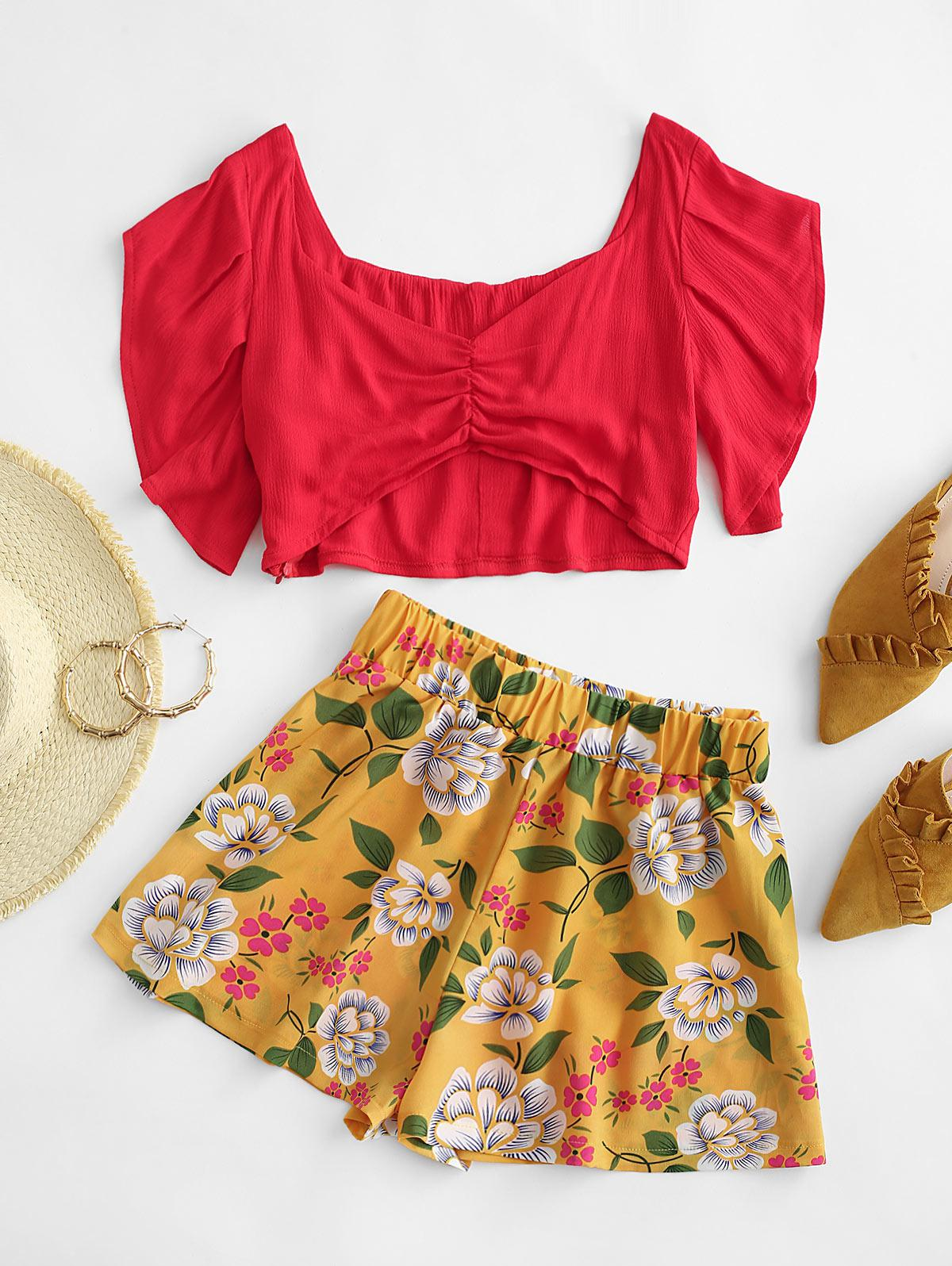 ZAFUL Gathered Sweetheart Floral Two Piece Set