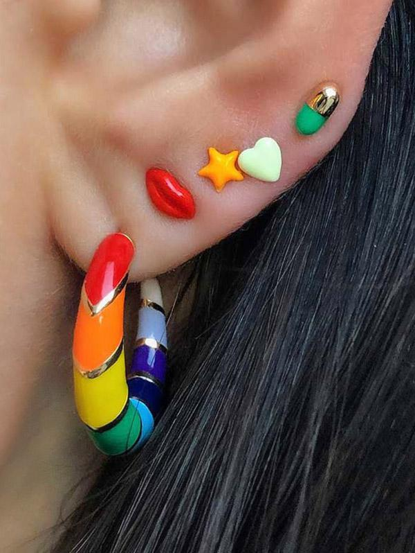 Colorful Open Hoop Earring And Star Lip Stud Earring Set