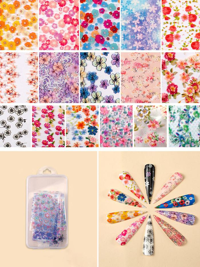 Flowers Pattern Nail Beauty Transfer Papers Set