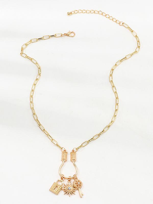 Key Lock Sun Pendant Necklace