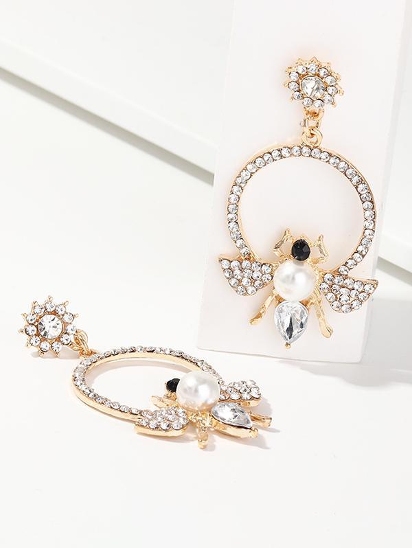 Bee Circle Faux Pearl Rhinestone Earrings