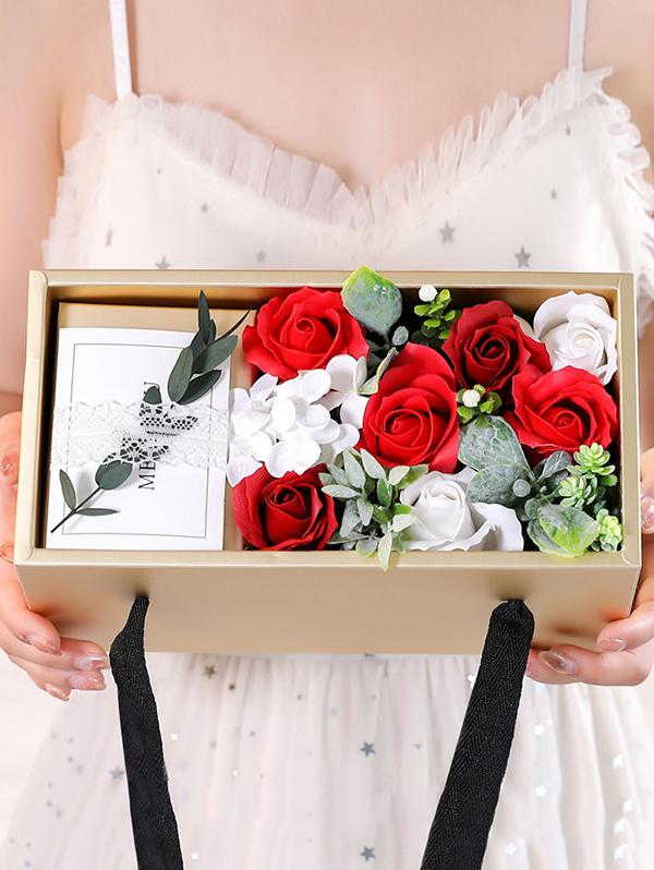 Mother's Day Soap Rose Carnation Bouquet Gift Box