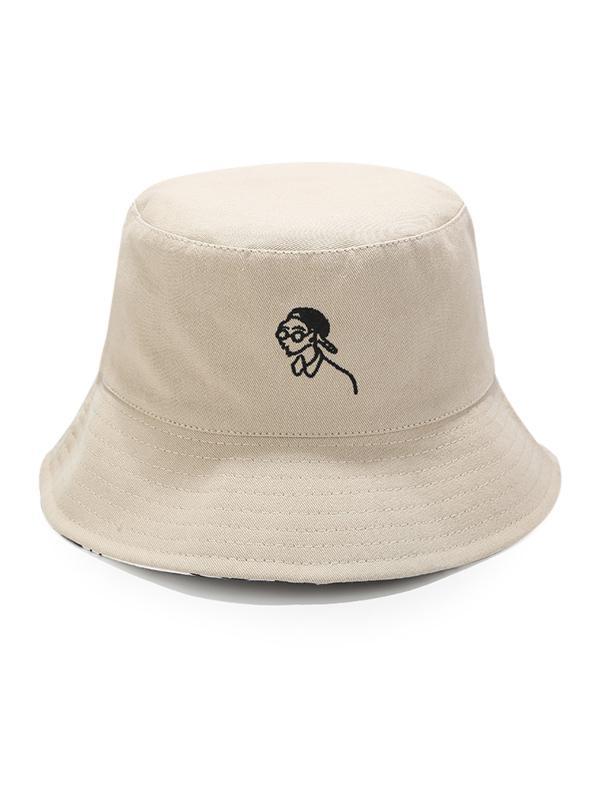 Cartoon Embroidery Reverse Sun Fisher Hat