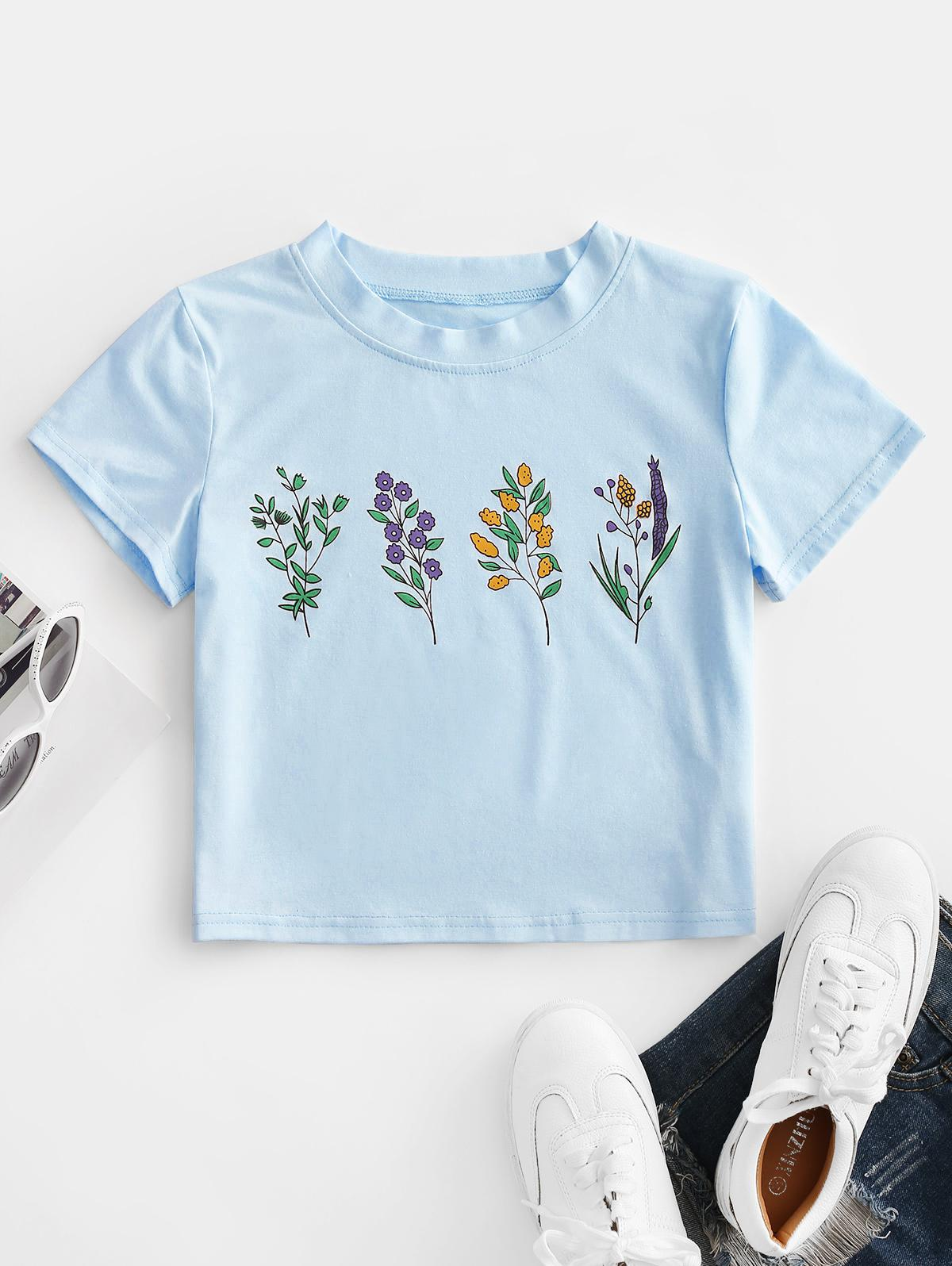 ZAFUL Flower Print Crop T-shirt