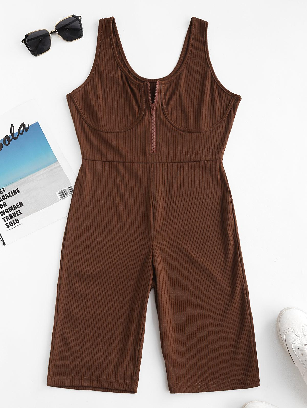 Ribbed Cupped Zip Placket Skinny Romper thumbnail
