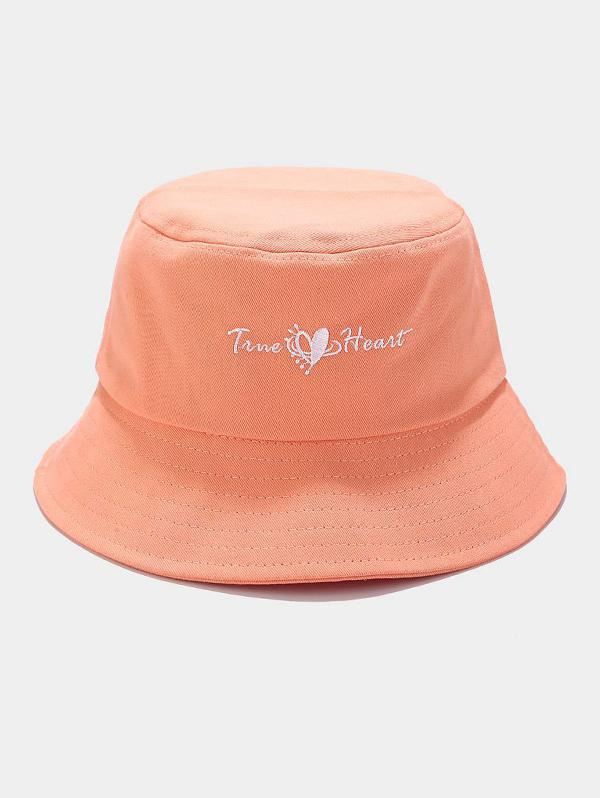 True Heart Embroidery Casual Bucket Hat