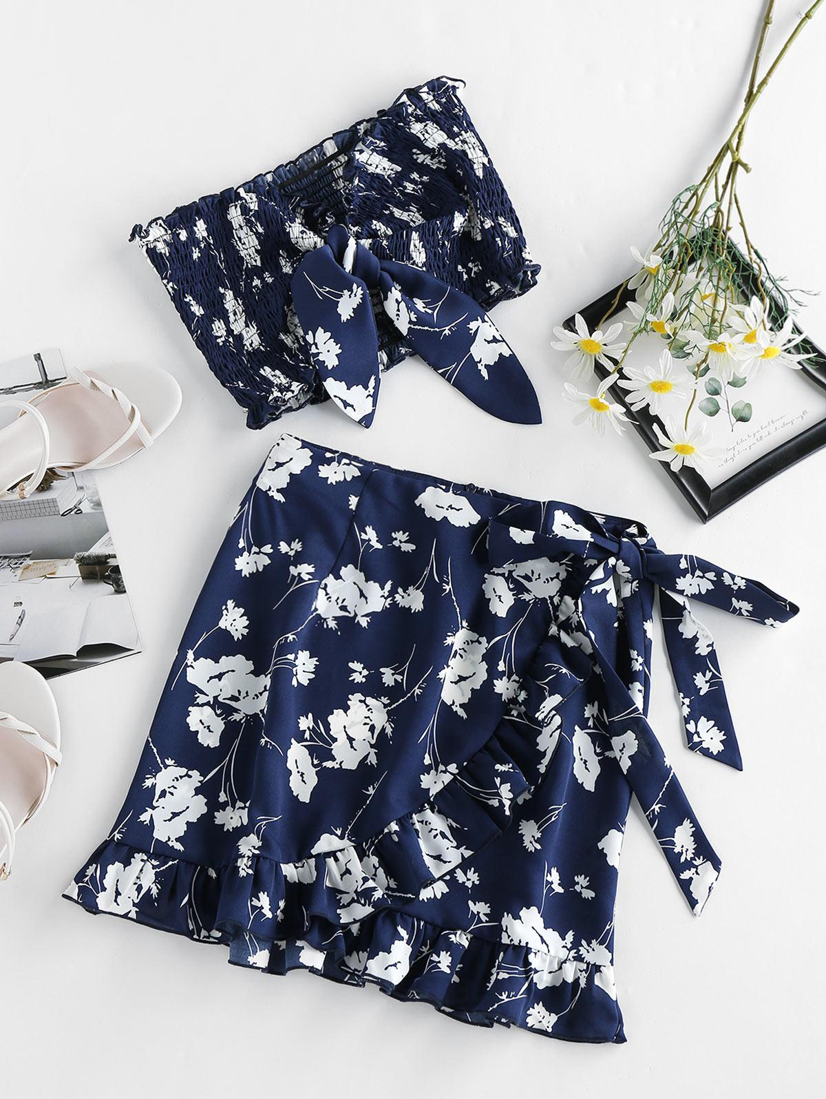 ZAFUL Flower Tied Smocked Ruffle Bandeau Skirt Set