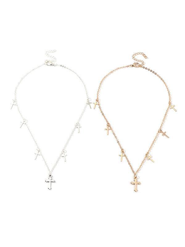 Cross Pendant Chain Necklace Set