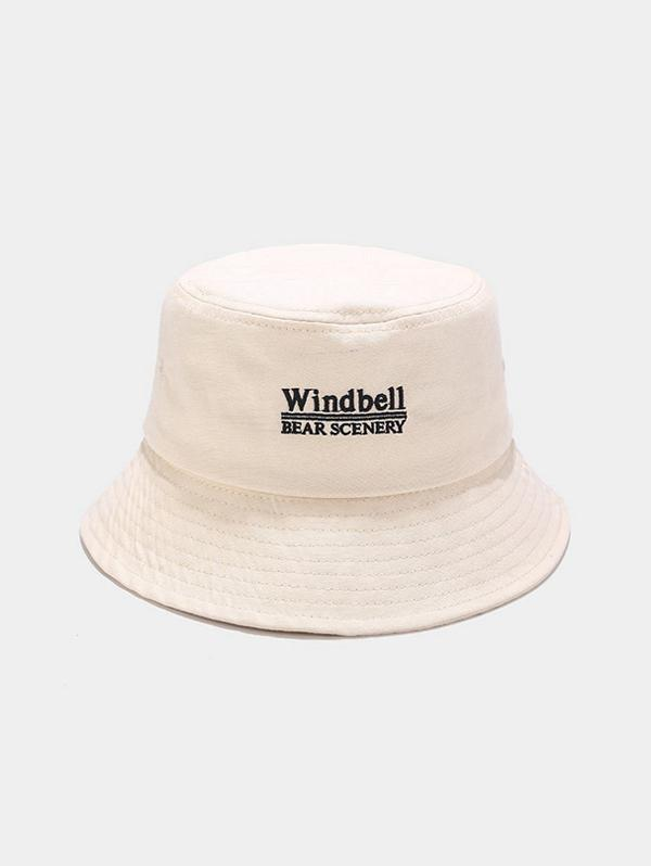 Windbell Embroidery Casual Bucket Hat