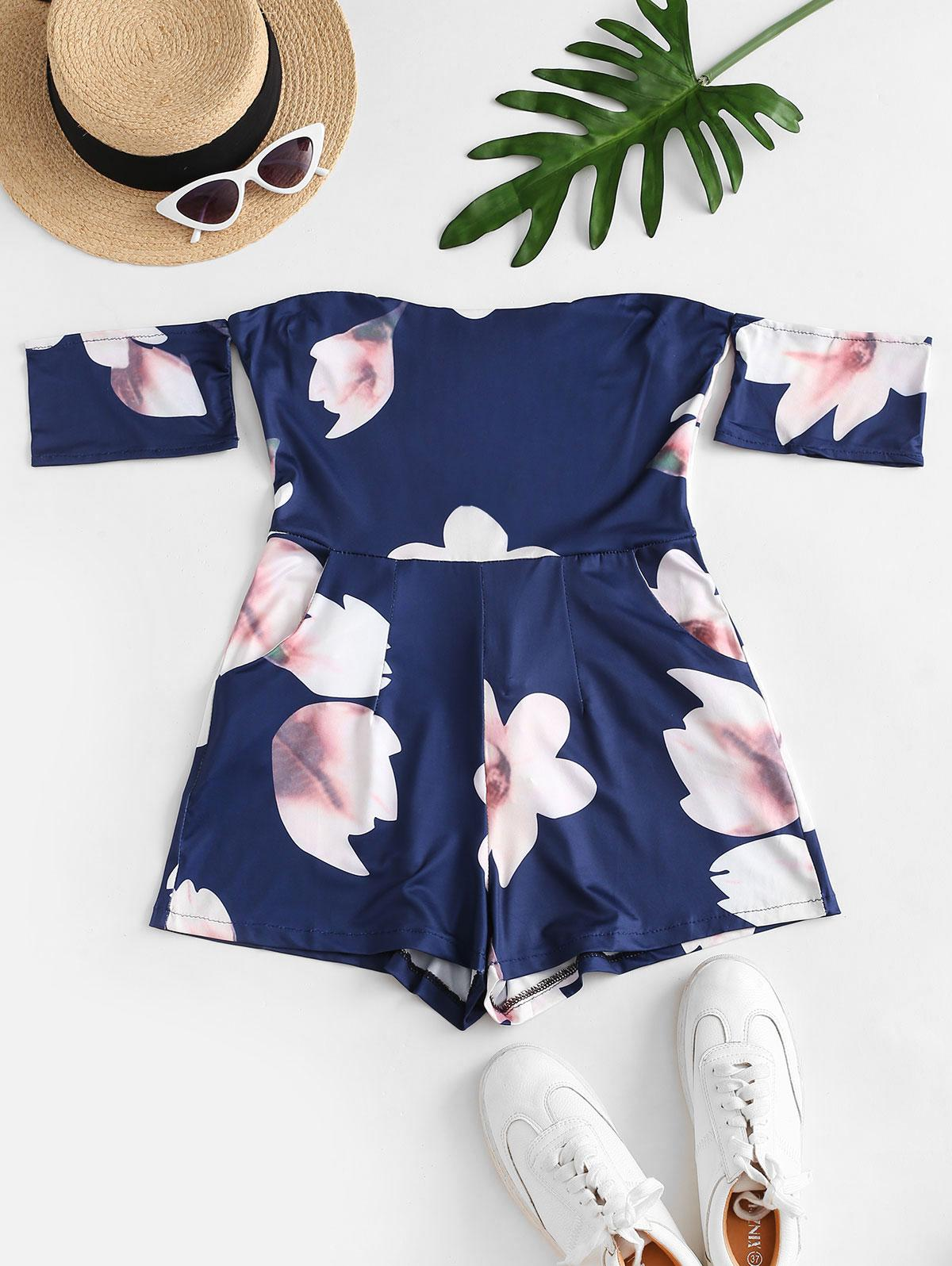 Back Zipper Floral Off Shoulder Romper