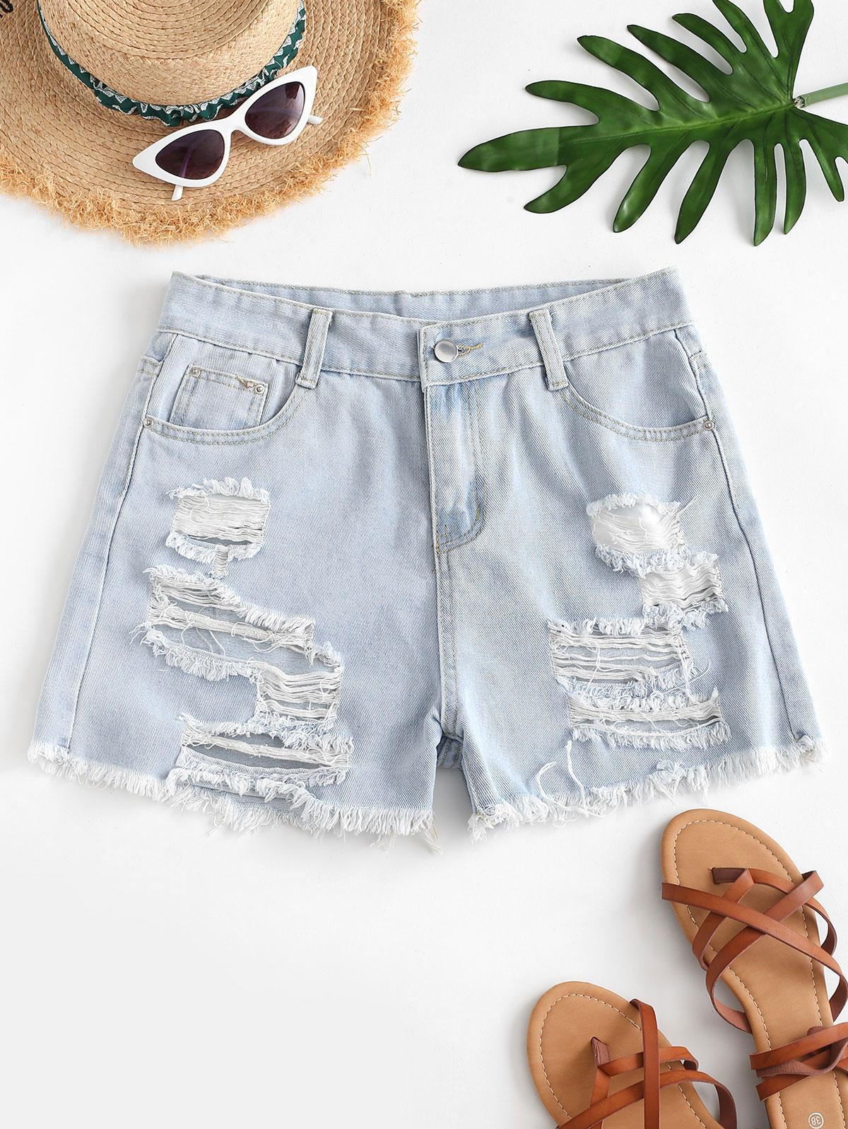 High Waisted Distressed Frayed Hem Jean Shorts