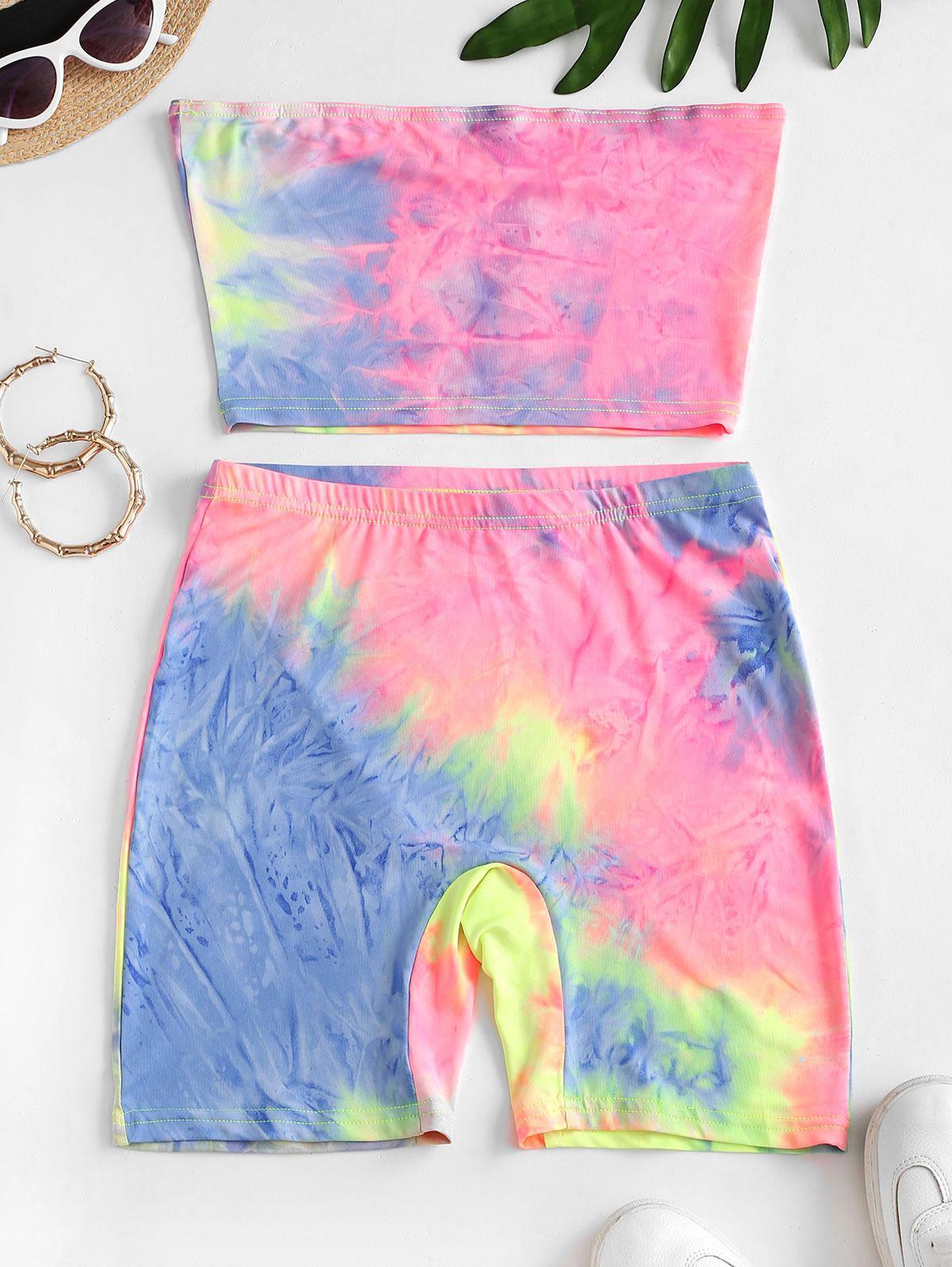 Rainbow Tie Dye Bandeau Top And Biker Shorts Set