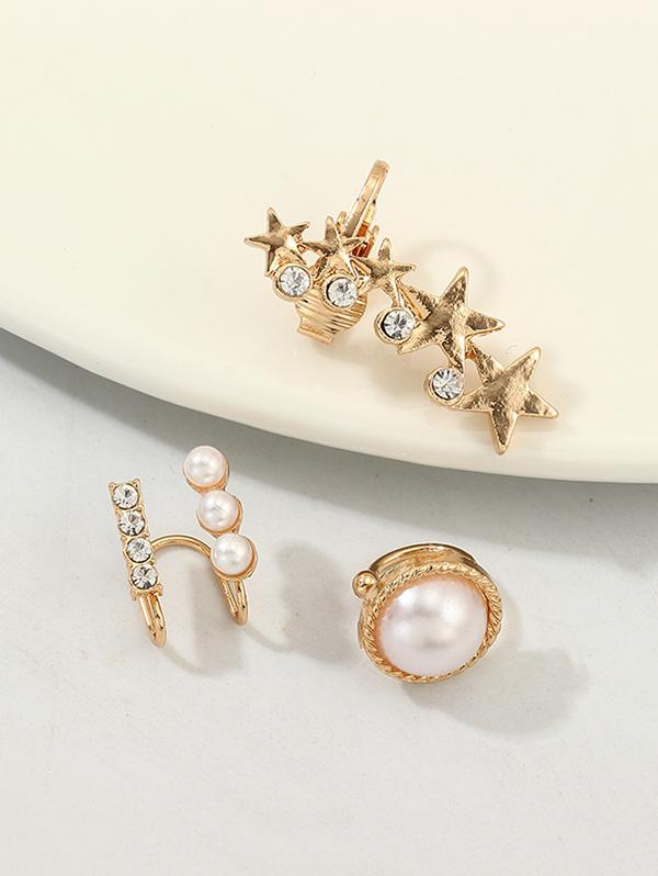 3Pcs Stars Faux Pearl Rhinestone Cuff Earrings Set
