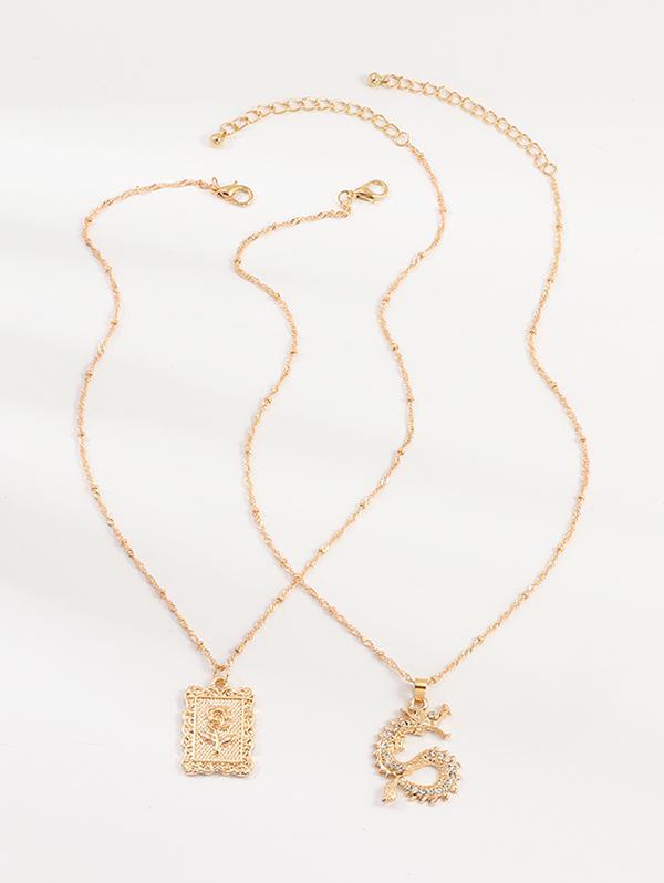 2Pcs Rose Dragon Pendant Necklaces Set