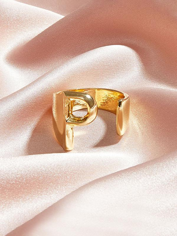 Hollow Out Initial Open Ring