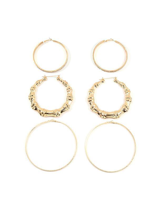 3Pairs Bamboo Rhinestone Exaggerated Hoop Earrings
