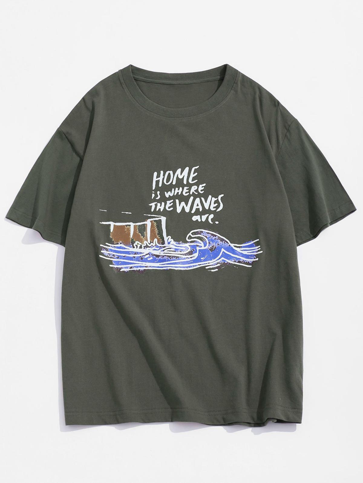 T-shirt de Base VaguePeinture Graphique - ZAFUL - Modalova