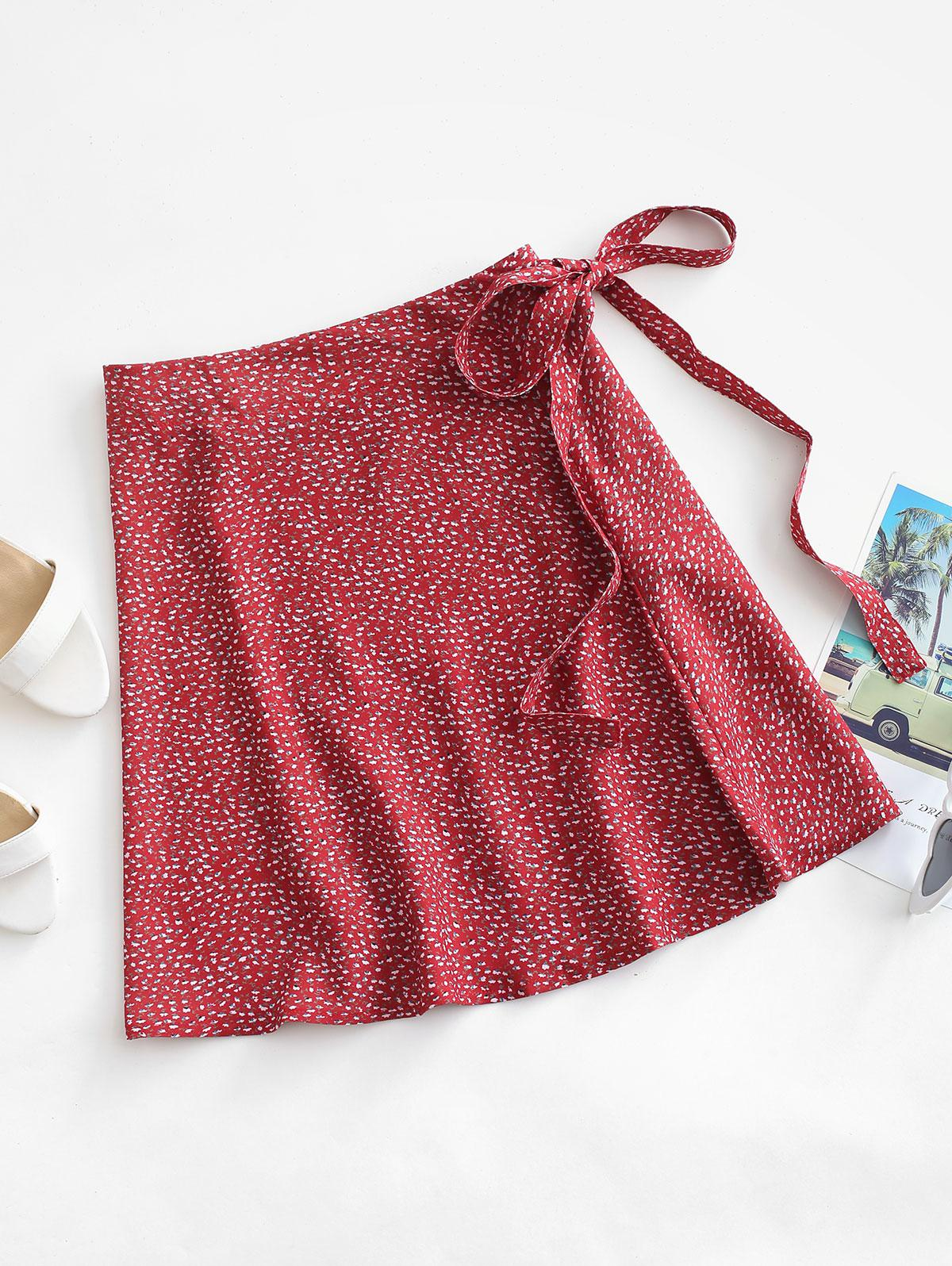 Ditsy Print Wrap Skirt