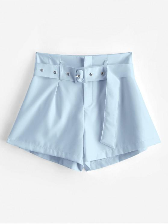 women's ZAFUL Belted Zip Fly High Waisted Shorts - SKY BLUE S