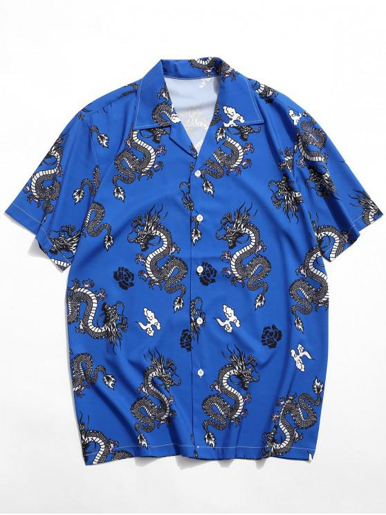 outfits Dragon Oriental Print Graphic Shirt - BLUEBERRY BLUE 2XL