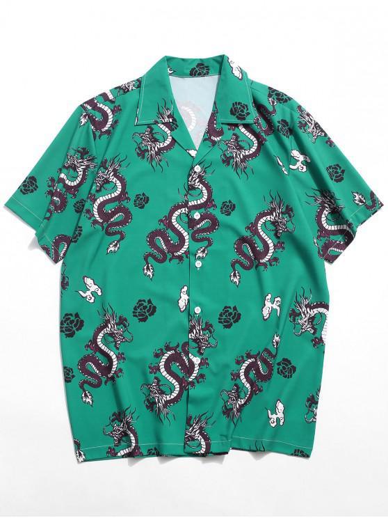 Camisa Oriental com Impressão Gráfica de Dragão - Verde de Mar  2XL