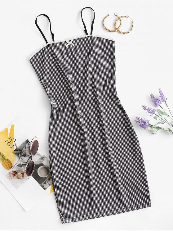 latest Gingham Crochet Insert Bowknot Bodycon Dress - BLACK M